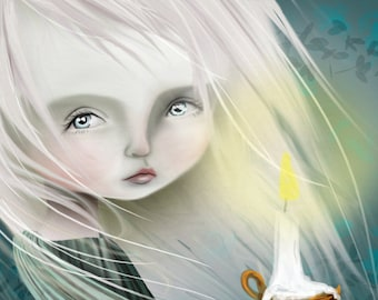 5x7 Fine Art Print - 'Haunt' - Cute Little Ghost Girl - Small Sized Art Print by Jessica Grundy