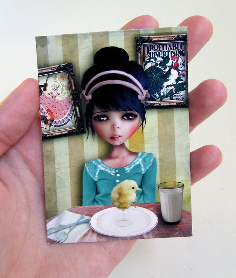 2.5x3.5 Girl and Baby Chick /'Chicken/' Artists Trading Card Mini Print ACEO ATC