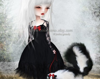 """Lowbrow Art multiple sizes - 8x10, 8.5x11, 11x17 - """"Take Warning""""  - Black and White Girl and Pet Skunk - Giclee Print"""