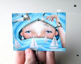 """ACEO ATC Artists Trading Card Blue and White Ocean Waves Girl """"Swell"""" Premium Fine Art Mini Print 2.5x3.5 Girl Child"""