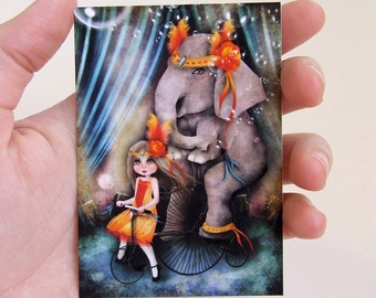 """Circus Art ACEO - """"A Bicycle Made For Two"""" - ATC Artists Trading Card Mini Premium Fine Art Print 2.5x3.5 inches"""