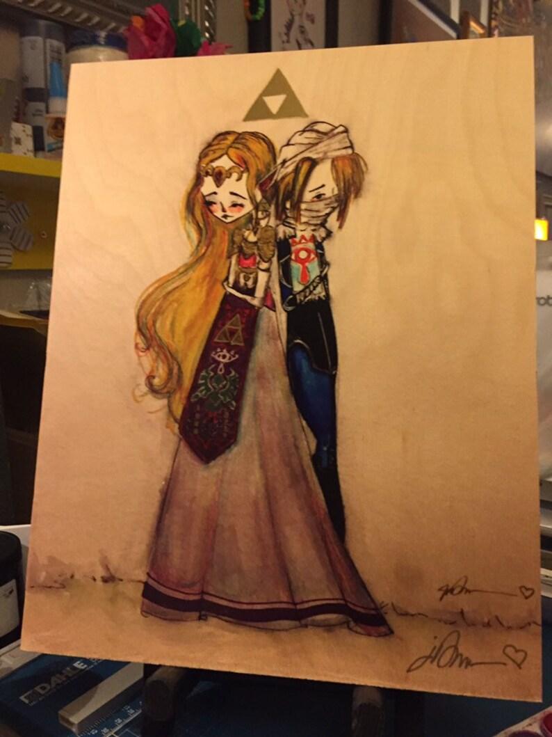 OOAK signed ready to hang /'Zelda/'- Fine Art Print by Jessica von Braun  11x14 decoupage Wood art print
