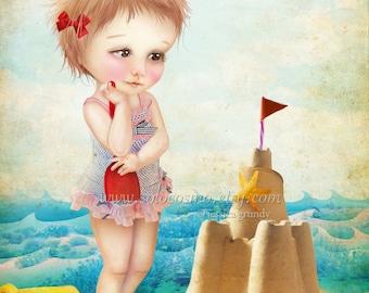 "Fine Art Print ""Samantha at the Shore"" 8.5x11   - Cute Little Girl at the Beach with Sand Castle Summer Fun Nautical"