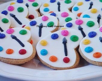 Paint palette artist cookies 1 dozen