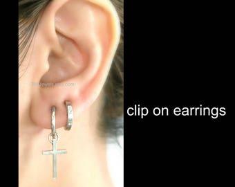 latest top fashion release date Dangling cross clip on earring mens dangle earrings silver   Etsy