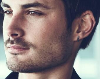 Men S Thick Hoop Earrings Diamond Hoop Earrings Etsy