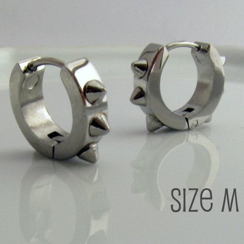 b96f3f590 Mens Spike Earrings Silver Huggie Hoop Spiked Huggie Earring   Etsy