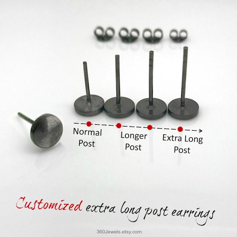 1007b5fe5 Extra long post earrings 7mm black stud earrings for men   Etsy