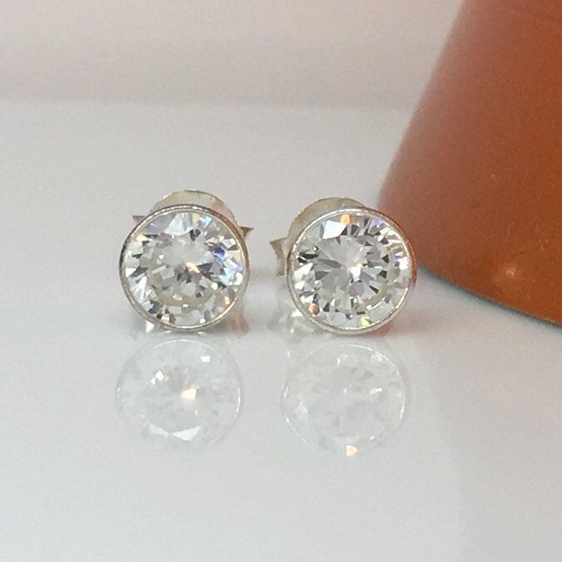 9ce819b924 Promotion Mens Silver Stud Earrings White Diamond CZ Post | Etsy