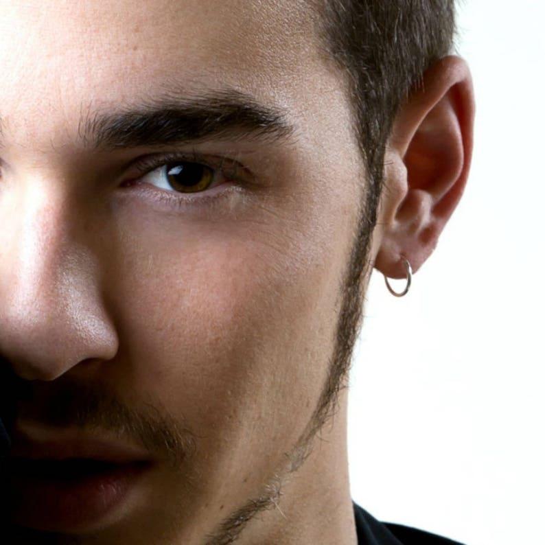 9e246293b Mens hoop earrings continuous endless hoop earrings white | Etsy