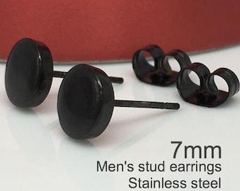 Black studs - black earrings - mens stud earrings - round flat earring - black studs - black stud earrings - mens earrings - mens studs