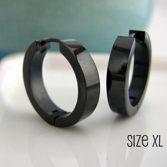 Extra large black hoop earrings for men black stainless ...