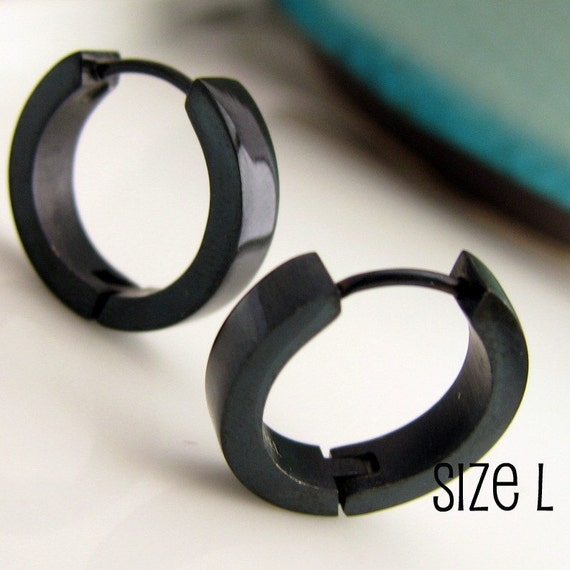 Jet Black Hoop Earrings For Men Simple Guys Cyber Corp Etsy