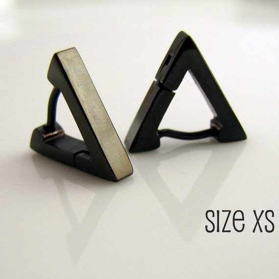 4e2bd9dda7112 Black Triangle Huggie Hoop Earrings for Men, Ear Cartilage Helix Tragus  Daith Rook Snug Piercing, Guys Gothic Punk Rock Steel, 214