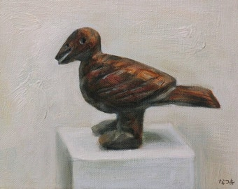 Original oil painting - Umber brown wooden bird