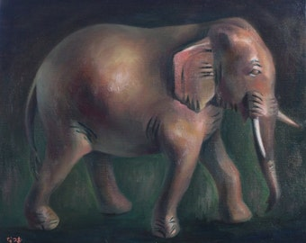 Original oil painting - Brown elephant