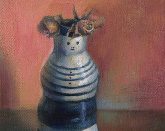Original oil painting - Smile vase