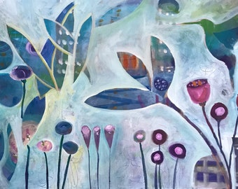 "Hummingbird Painting, Garden with Humming Bird, Abstract Bird Painting , Sofa Painting, Intuitive Painting, 24"" x 48"""