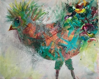 Abstract Colorful Bird Acrylic Painting