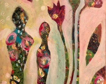 Abstract Angels Painting,  Original Painting, Abstract Figures, Abstract Flower Art, Mother and Child Art, Woman and Child
