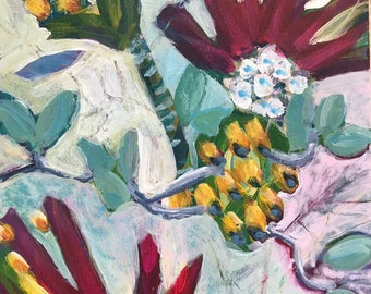 Abstract Colorful Floral Acrylic Painting Garden Art 5x7