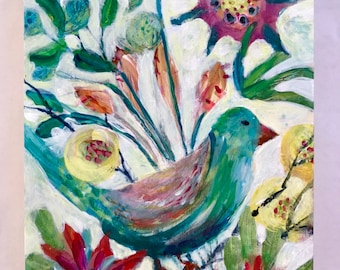 Abstract Colorful Bird Floral Acrylic Painting