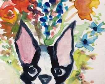 Boston Terrier Dog in Garden Flowers Art Print