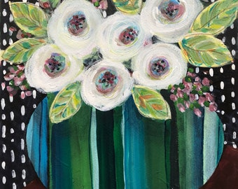 White Poppies Stripes Vase