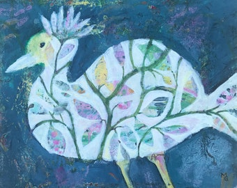 Bird Painting, Abstract Bird, Whimsical Bird Art, Original Painting on Wrapped Canvas