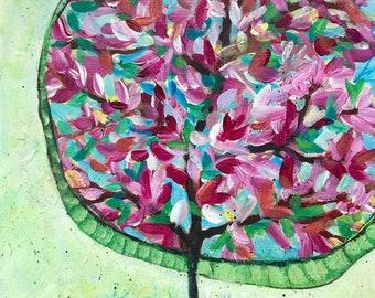 Modern Abstract Flowering Cherry Tree, Original Painting 8x10