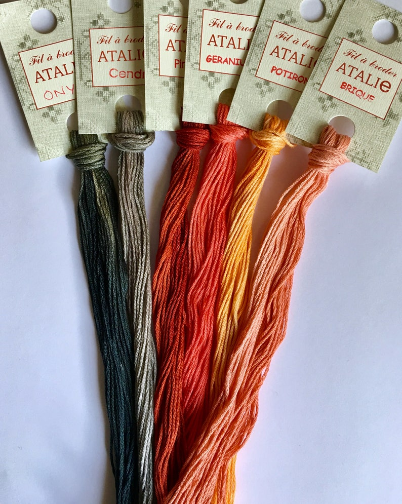 Thread Pack  Le Fil Atalie  Over dyed thread  Hand dyed Floss  Indie Dyed  Stitching Floss  Cross stitch threads  Blackwork Variegated Floss