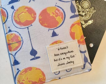 Passport Cover, Passport Wallet, Travel Set, Passport Holder and Luggage Tag, I haven't been everywhere,  Vegan Passport cover with globes