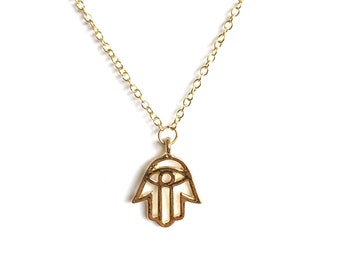 hamsa hand necklace - hand of fatima - hand necklace - gold plated - silver plated - bohemian chic jewelry - hamsa jewelry - women's gift