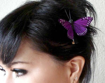 Stella Purple Feather Butterfly Hair Clip