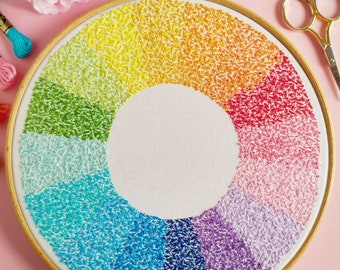 Wheel of Colour Embroidery Pattern PDF Rainbow Color Wheel