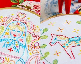 Dala Horse and Matryoshka Doll Set of Embroidery Patterns PDF