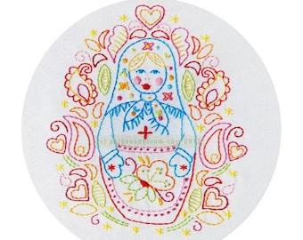 Embroidery Pattern Matryoshka Babushka Russian Doll PDF