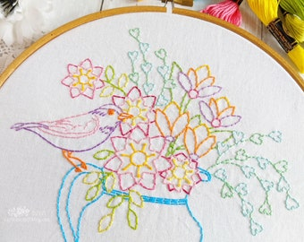 Bird And Blooms Hand Embroidery Pattern - Digital File PDF
