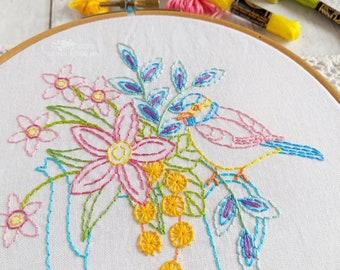 Vintage Coffee Pot Bouquet Hand Embroidery Pattern - Digital File PDF