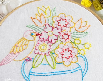 Bird And Bouquet Hand Embroidery Pattern - Digital File PDF