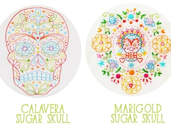 Embroidery Pattern Set: Calavera Skull and Marigold Sugar Skull