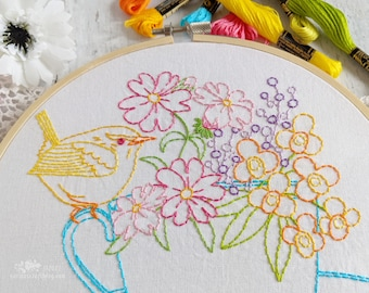 Wren Teacup Bouquet Hand Embroidery Pattern - Digital File PDF