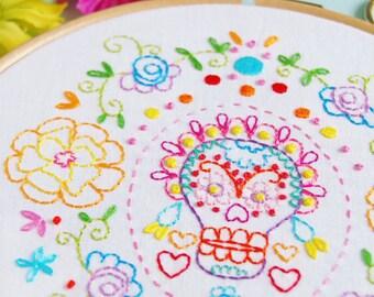 Marigold Sugar Skull Calavera Embroidery Pattern PDF