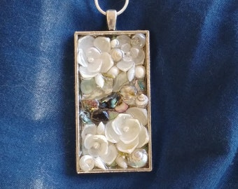 """Sailors Valentine inspired Rectangle PENDANT Shellflower Garden Design (Blue Abalone """"River"""")"""