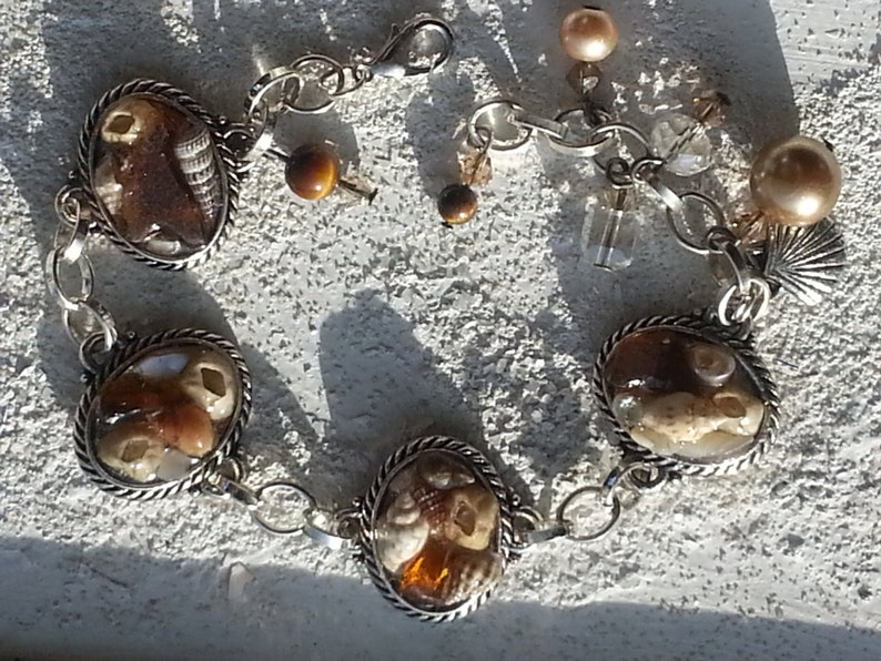 Sea AMBER SEA GLASS with Barnacles and Seashell Charm Bracelet image 0