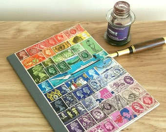 Vintage British Postage Stamp A5 Notebook
