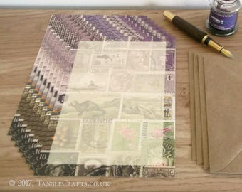 Writing Set, Letter Writing Paper - Heather, Abstract Landscape | A5 Postal Letter Set | Postage Stamp Collage Print | Penpal Snail Mail Art