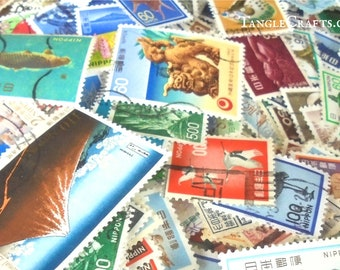 Japanese postage stamp packet • mixed selection of postal stamps from Japan • vintage & recent used stamps for craft,scrapbooking collection