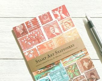 Sunset Heron writing paper set, postage stamp print landscape
