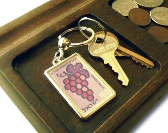 Purple Grapes Keyring - upcycled 1958 Israel postage stamp, Happy Days series